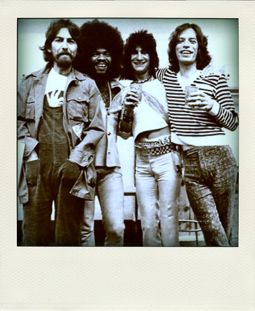 Billy Preston George Harrison Ronnie Mick poloraid