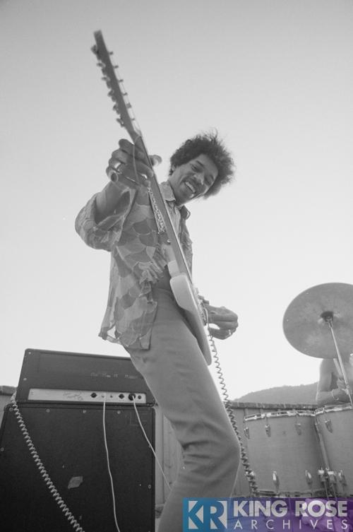 Jimi Hendrix rehearsing, smiling